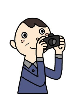 An elderly man taking pictures