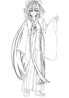 Kashima Maehi หญิง Hakama 4 (วาดเส้น)