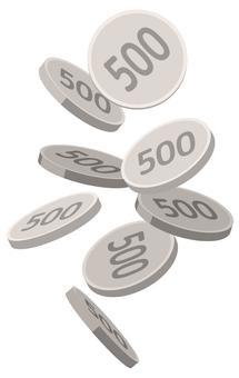 떨어지는 500 엔 동전