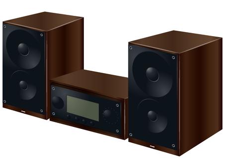 木製の重厚なオーディオ機器とスピーカー