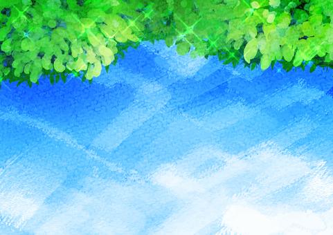 Watercolor blue sky leaves