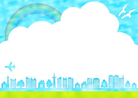 青空と鳥と虹と緑の家の水彩風フレーム枠