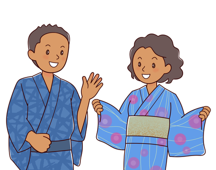 Foreigners in Yukata (Black)