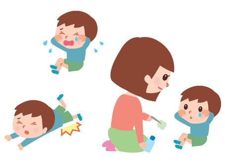 A boy falling injuries a set