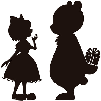 Bear and girl's silhouette A