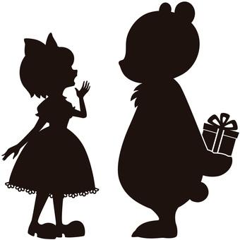 곰과 소녀의 실루엣 A