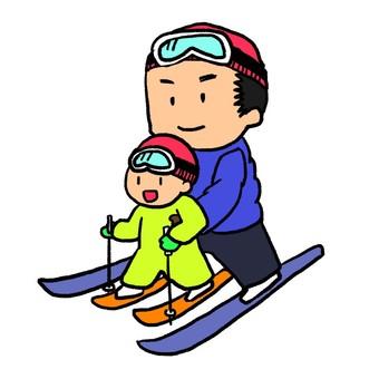 父母和孩子一起滑雪