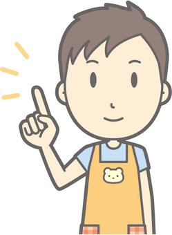 Nursery teacher man - pointing smile - bust