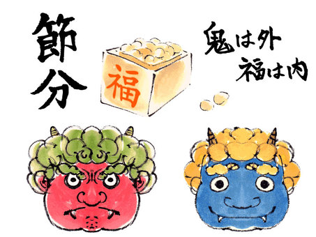 """Hand-painted material"" Setsubun variously"