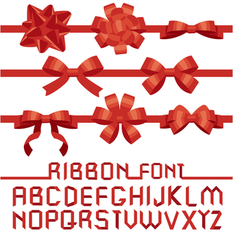 Ribbon material parts with font 1