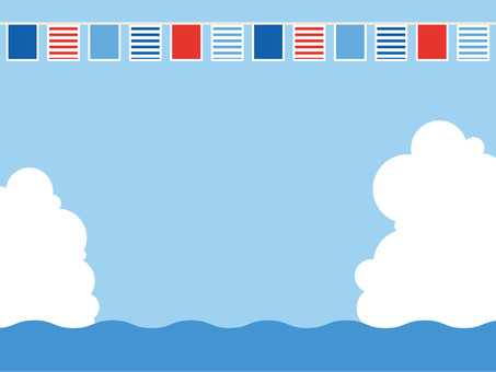 Sea and sky, clouds and flags 5