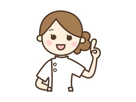 손가락질 포즈를하고있는 여성 간호사 _ 상반신
