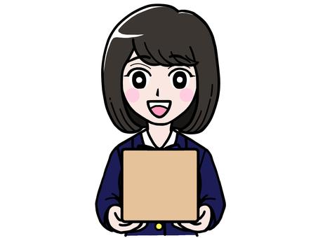 Student girl jk schoolgirl with cardboard