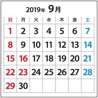 Small Calendar September 2019