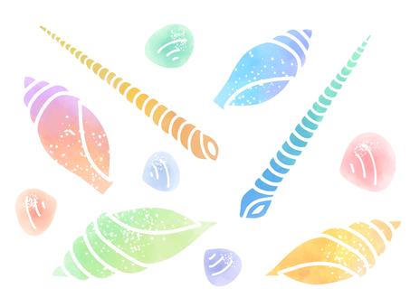 Watercolor material set 03 of shells