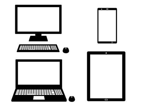 Computer tablet smartphone silhouette