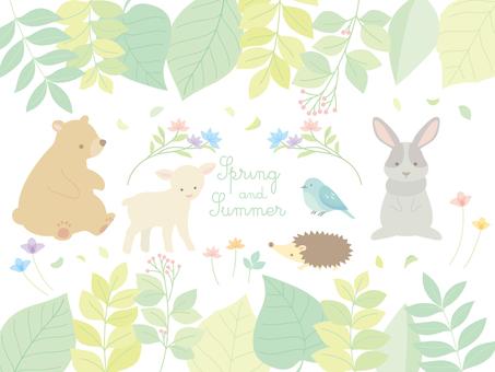春と夏の植物・動物イラスト