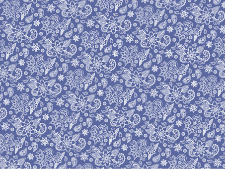 Flower paisley pattern fashionable blue background