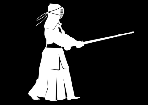 Kendo _ person with bamboo sword _ black and white reversal