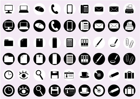 Business round icon set