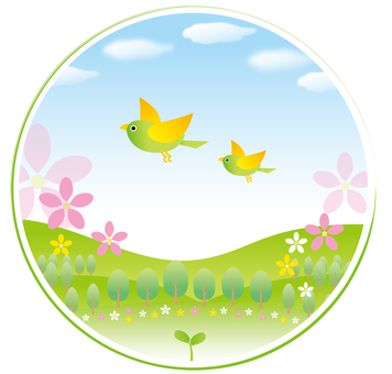 Birds flying in spring
