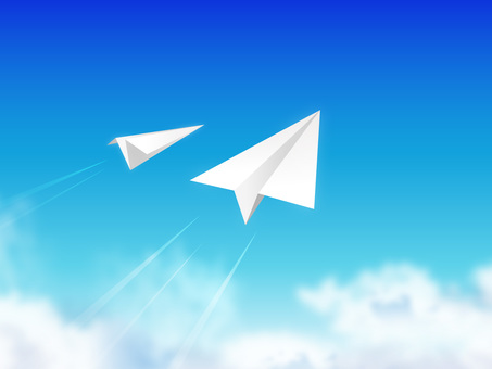 Blue sky and paper airplane 07
