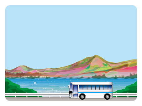 Background frame (52) Spring mountain and lake tourism by bus