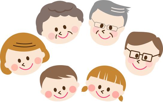 Three generations of six families