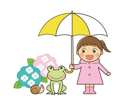 비오는 날 여자와 개구리
