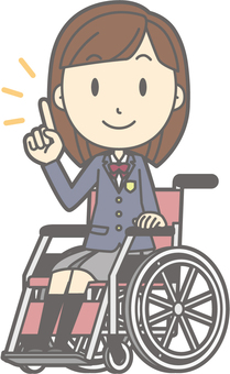 School girl high school winter a - wheelchair pointing - whole body