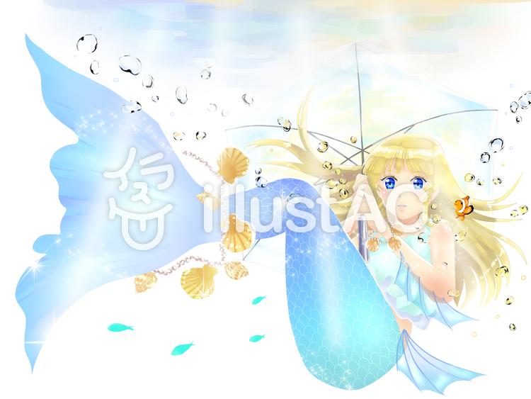 人魚ちゃん傘をさして海中散歩