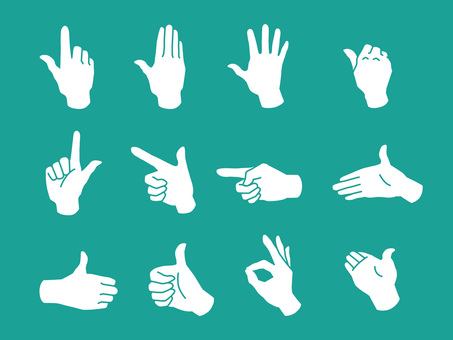 Hand and fingers · hand sign · white silhouette