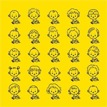 Baby with various hairstyles