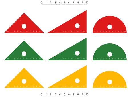 Triangle ruler (Transparent red / green / yellow)