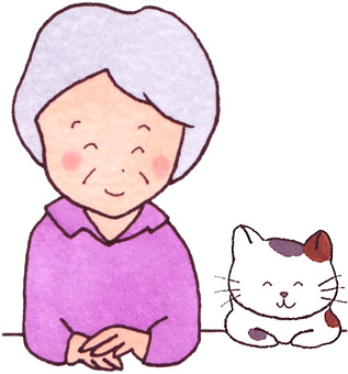Cat and grandmother