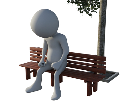 Person sitting on bench and thinking