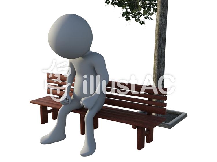 ベンチに座って考え込む人のイラスト