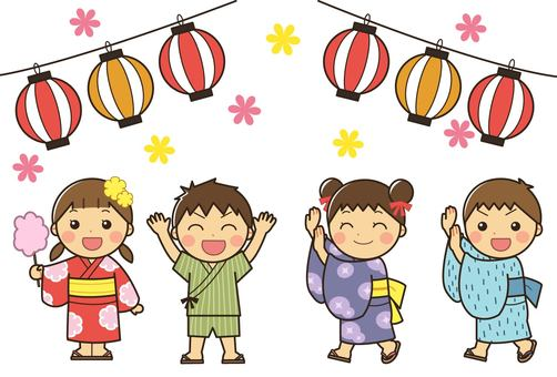 Children in summer festival yukata