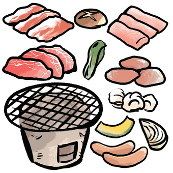 Charcoal-grilled set