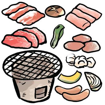 Charcoal grill set