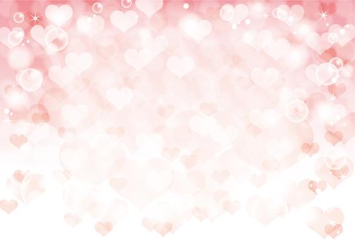 하트와 비눗 방울 배경 핑크
