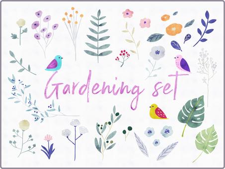 Watercolor hand drawn botanical set
