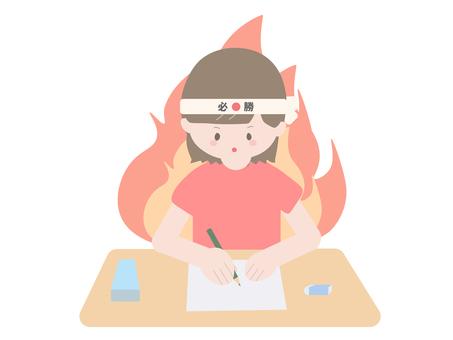 Red girl burning on exam