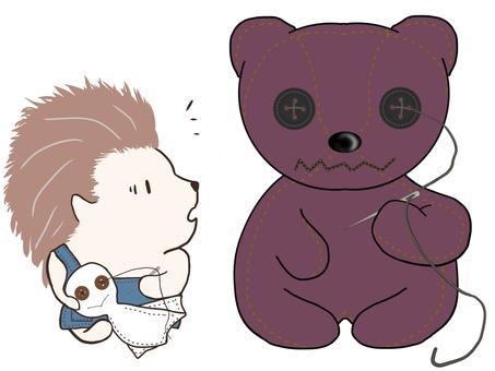 Hedgehog and stuffed bear ③