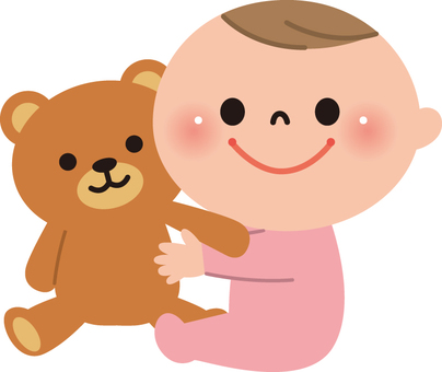 Baby and plush toy