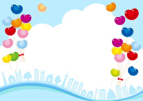青空と風船と木とビルの風景フレーム枠