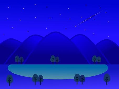 Night mountain and lake landscape
