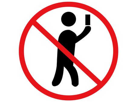 Walking smartphone prohibition mark
