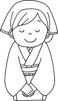 Japanese-style waitress triangles with line drawings