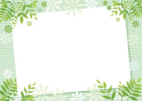 나뭇잎과 꽃잎 녹색 배경 프레임